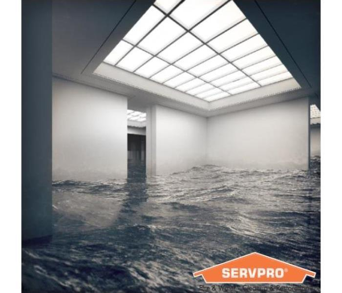 Inside of a building flooded with high levels of water.